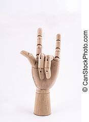 the gesture of greeting made with a jointed wooden hand - ...