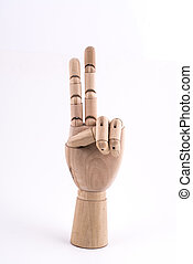 the gesture of the number two made with a jointed wooden hand