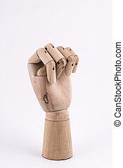 the gesture with a jointed wooden hand