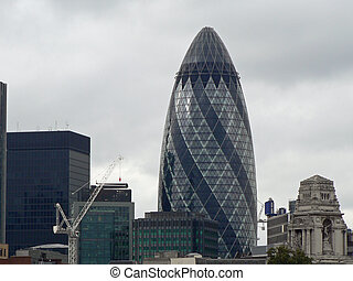 The Gherkin and City of London - View of the Gherkin,...