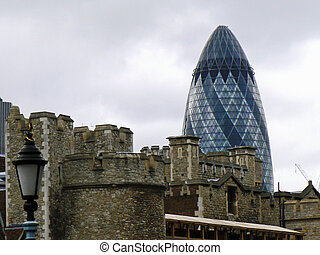 The Gherkin and Tower of London - View of the Gherkin,...