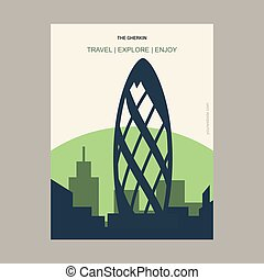 The Gherkin London, UK Vintage Style Landmark Poster Template