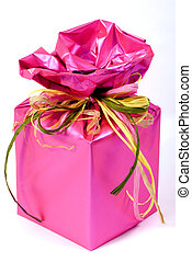 The Gift - A beautiful gift wrapped in bright pink wrapping ...