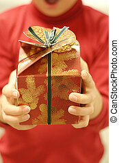 The gift - Holding gift (focus on gift)