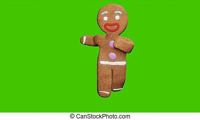 The gingerbread man is dancing a Christmas dance. The concept of the celebration. 3D Rendering.