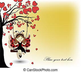 The girl a ladybug on a swing