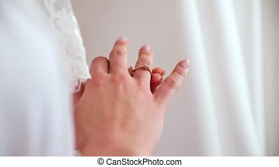 The girl, a woman is getting a wedding ring. starting new...