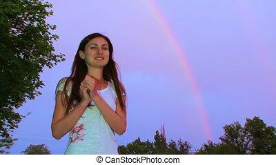 The girl and a rainbow