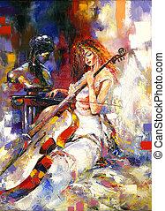 The girl plays a violoncello