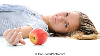 The girl and an apple.