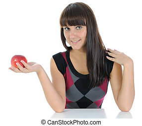 The girl and apple.