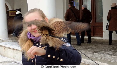 The girl and falcon