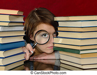 The girl and magnifier.
