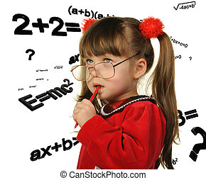 The girl and mathematical formulas. It is isolated on a...