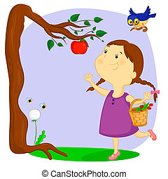 the little girl wants to disrupt juicy ripe apple