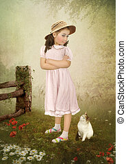 The girl and the kitten
