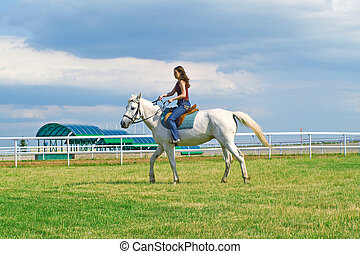The serenity young girl astride a horse on a hippodrome
