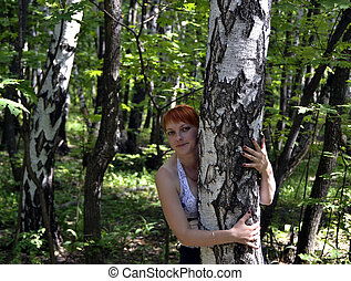 The girl at a birch