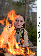 The girl at a fire
