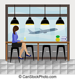 The girl behind the bar counter at the panoramic window at the airport. Plane taking off.