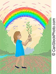 The girl carries a tree sprout for planting, a volunteer plants trees. Vector illustration
