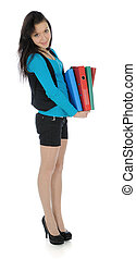 The girl carrying folders