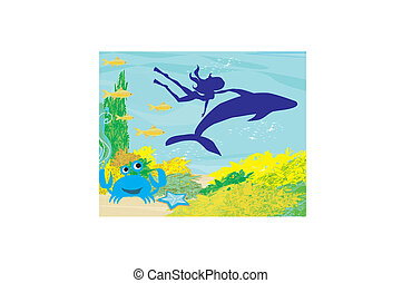 The girl-diver floats together with a dolphin