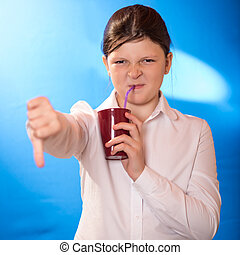 the girl drank a beverage a straw