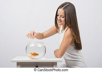 The girl feeds a goldfish in an aquarium