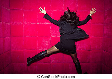 The girl hit the red wall - Girl ran into a wall, run up,...