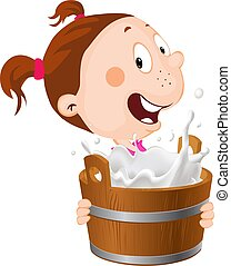The girl holds a bucket of splashing milk in her arms - vector illustration