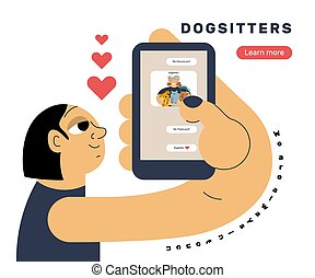 The girl holds a smartphone in her hand and looks at the chat screen with the dogsitter.