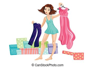 The girl holds clothes in hand, chooses trousers or a dress, a case with clothes on the background