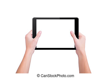 The girl holds two hands the tablet