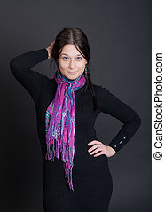 the girl in a bright scarf