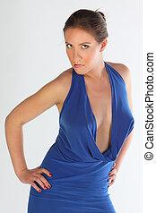 The girl in a dark blue dress
