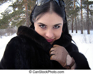 The girl in a fur coat