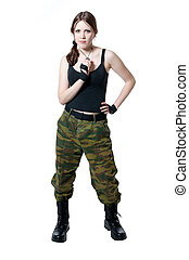 The girl in a military uniform