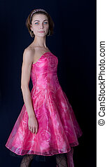 The girl in a pink dress