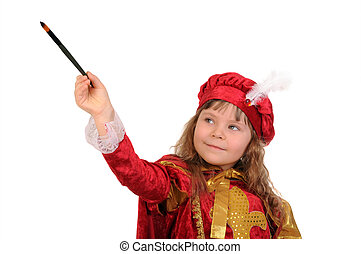 The girl in a red historical suit with a brush on a white background