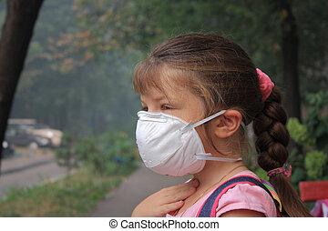 The girl in a respirator - Preschool girl in a breathing...