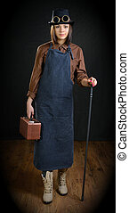 The girl in a role of handicraftsman.