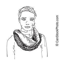 The girl in a scarf.
