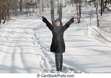 The girl in a snow