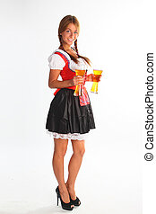 The girl in a traditional Bavarian dress with full glasses...