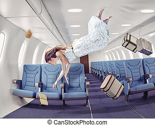 the girl in an airplane