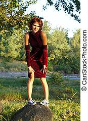 The girl in an evening dress