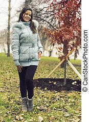 The girl in park.