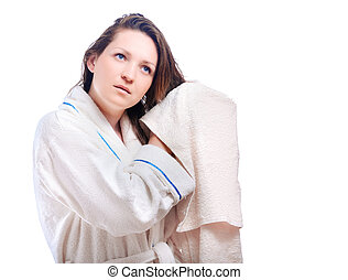 the girl in bath robe