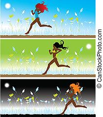 The girl in bikini runs on a grass, 3 illustrations